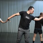 """Nicolo Fonte and BalletX dancers rehearse a scene from """"Beasts."""" 