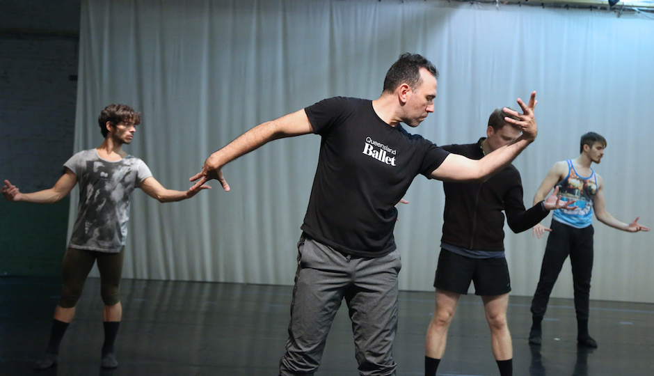 "Nicolo Fonte and BalletX dancers rehearse a scene from ""Beasts."" 