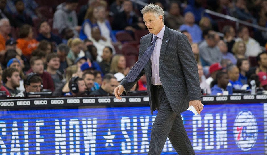 Sixers head coach Brett Brown saw his Philadelphia 76ers set the high water mark for most turnovers in a game during the 2015-16 season for the second consecutive game | Bill Streicher-USA TODAY Sports