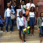 Students from Evoluer House summer 2015 Youth Workforce Development and Personal Development programs leaving class at Peirce College.