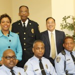 Former SEPTA Deputy Police Chief David Smith (top center), pictured with City Councilwoman Cindy Bass, City Councilman David Oh, and SEPTA police officers in a 2012 SEPTA photo.