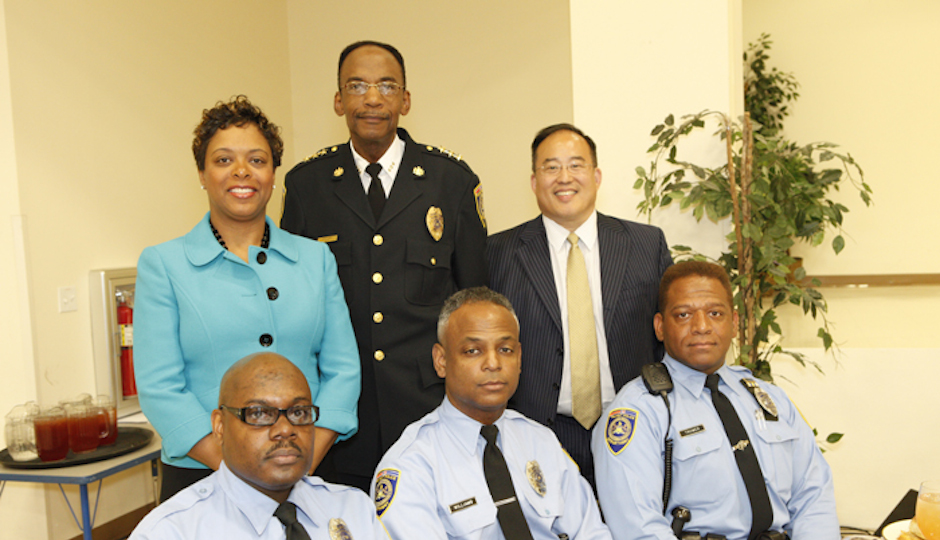 Former SEPTA Deputy Police Chief David Scott (top center), pictured with City Councilwoman Cindy Bass, City Councilman David Oh, and SEPTA police officers in a 2012 SEPTA photo.