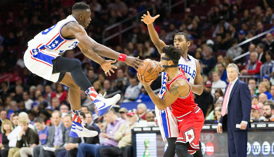 Derrick Rose and the Chicago Bulls defeated the Sixers 111-88 Monday night at the Wells Fargo Center   Bill Streicher-USA TODAY Sports