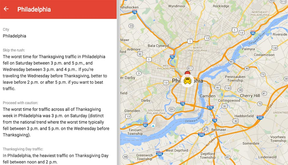 Traveling To Or From Philly For Thanksgiving Google Maps Says This - Philadelphia usa map