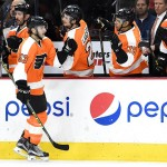 Philadelphia Flyers defenseman Shayne Gostisbehere (53) celebrates his goal against the Los Angeles Kings during the first period at Wells Fargo Center. Photo | Eric Hartline-USA TODAY Sports