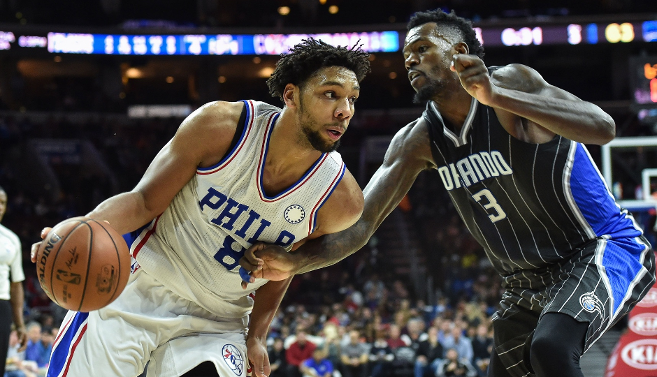 Sixers center Jahlil Okafor scored 19 points against Orlando, but the Sixers fell 105-97 | John Geliebter-USA TODAY Sports