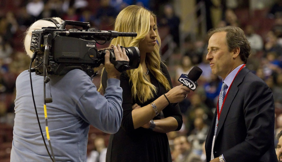 January 6, 2012: Philadelphia 76ers owner Josh Harris gets interviewed by CSN Philly Sixers Sideline reporter Meredith Marakovits during an NBA game. (Cal Sport Media via AP Images)