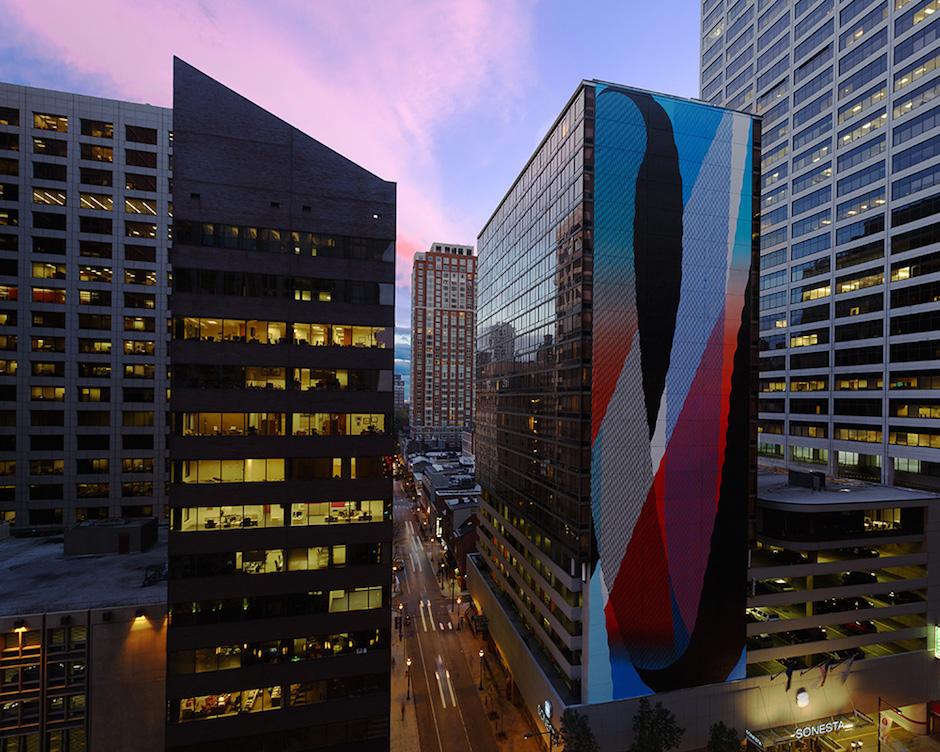 MOMO mural on the Sonesta Hotel | Photo by Steve Weinik