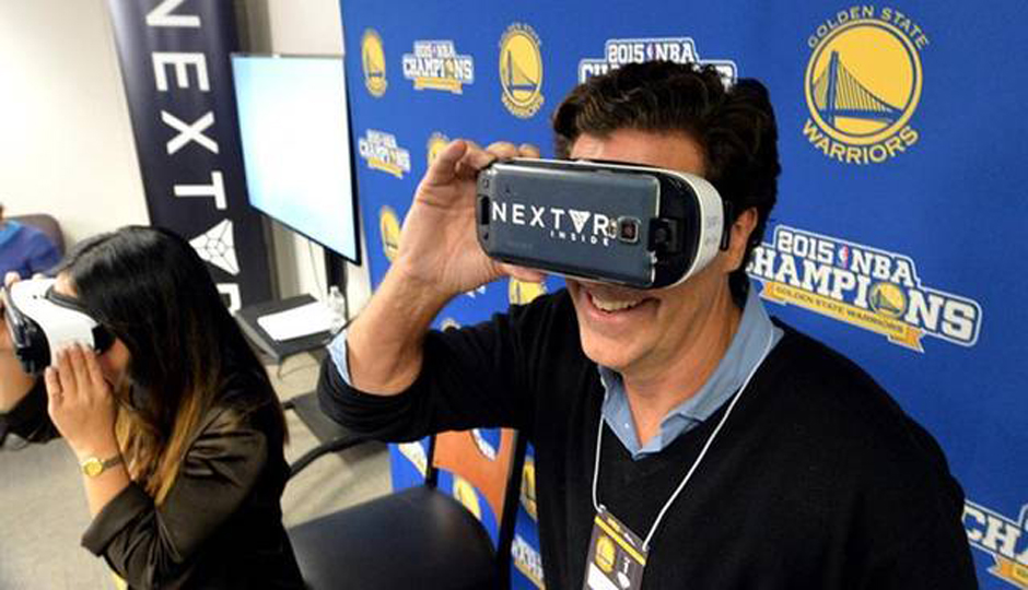 Technology from NextVR on display at an NBA game between the Golden State Warriors and New Orleans Pelicans.