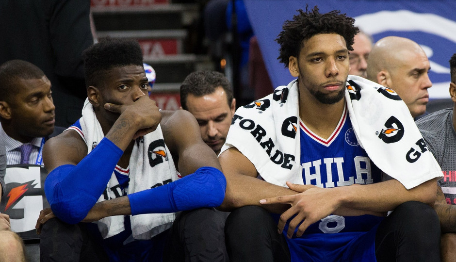 How well Nerlens Noel and Jahlil Okafor fit on the court together has been a popular topic of conversation early on in the Sixers season | Bill Streicher-USA TODAY Sports