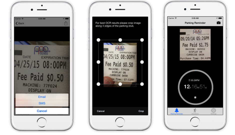 Promotional screenshots of ParkSnap app via iTunes