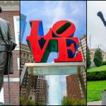 Statue of George Washington (TK), the LOVE Sculpture (f11photo / Shutterstock.com) and the Rocky statue at PMA (Marco Rubino / Shutterstock.com)