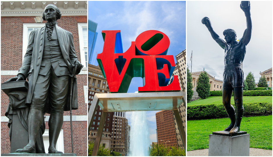 Statue of George Washington (TK), the LOVE Sculpture (f11photo / Shutterstock.com) and the Rocky statue at PMA (Marco Rubino / Shutterstock.com)
