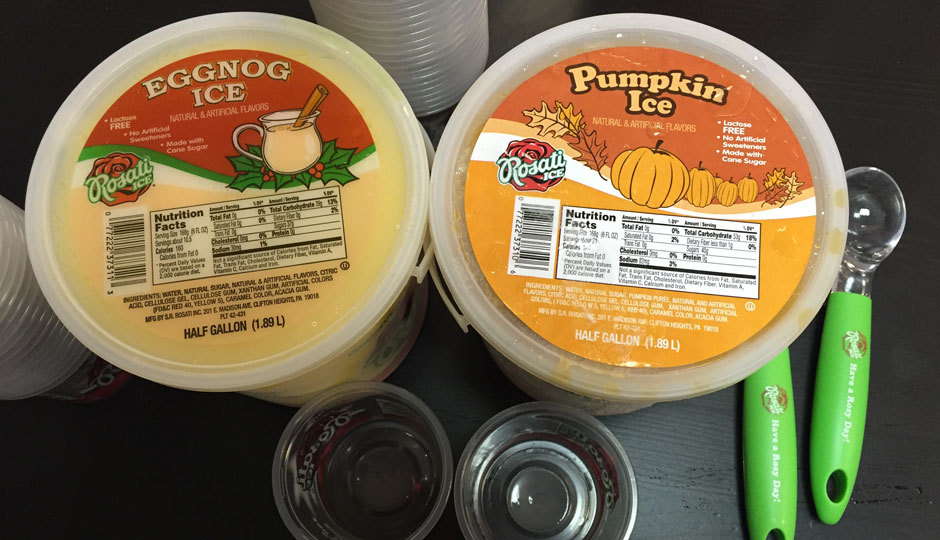 Eggnog and pumpkin water ice.