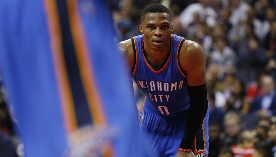 Russell Westbrook had a triple-double against the Sixers, finishing with 21 points, 17 rebounds, and 11 assists in the win | Geoff Burke-USA TODAY Sports