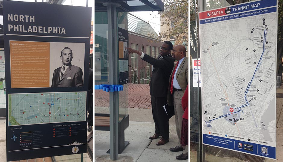 The new shelters will include neighborhood information (left) and bus route information (right).