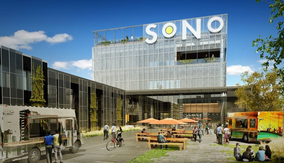An artist rendering for SoNo, a large, horizontal office space in Northern Liberties.