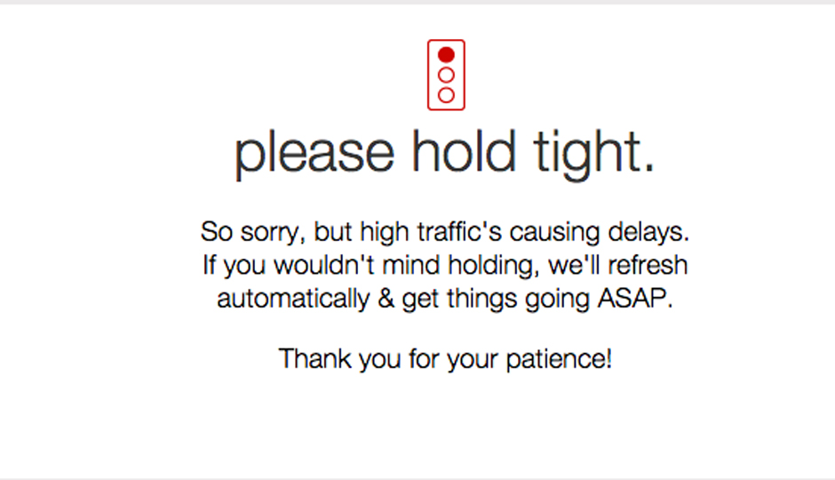 Target.com's error message. The site came back online around 10:45 a.m.