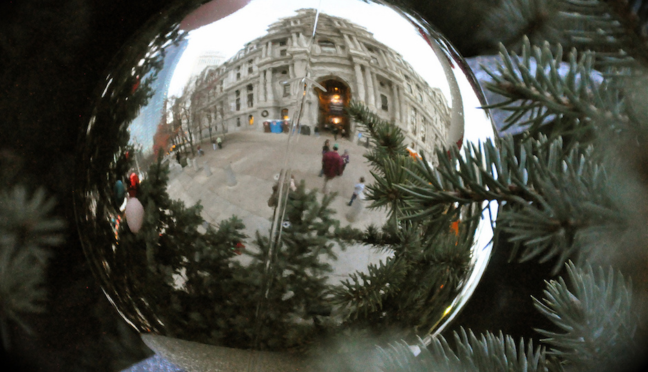 The Christmas tree at City Hall will be lit this Thursday. | Photo by Kevin Burkett via Flickr