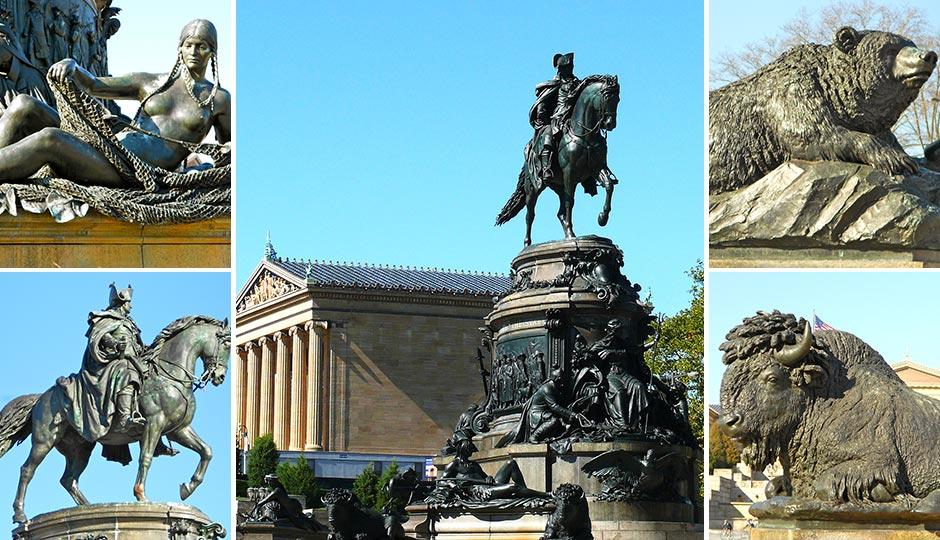 "Center photo: ""Washington Monument-Philadelphia-27527"" by Ken Thomas - KenThomas.us(personal website of photographer). Licensed under Public Domain via Commons. Detail Photos: ""GW bear philly"" by Smallbones - Own work. Licensed under CC0 via Commons."
