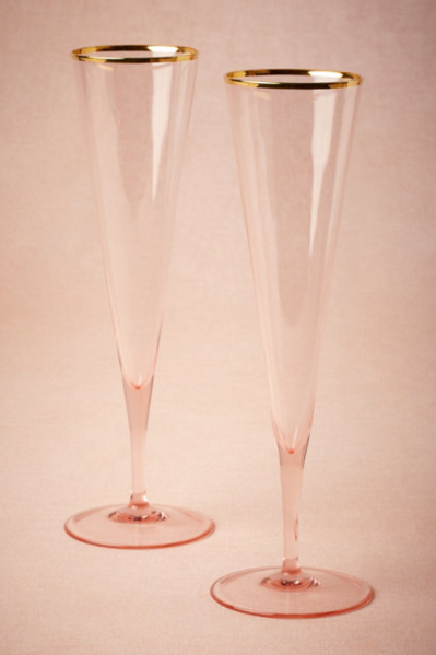 We love these rose-hued flutes from BHLDN.