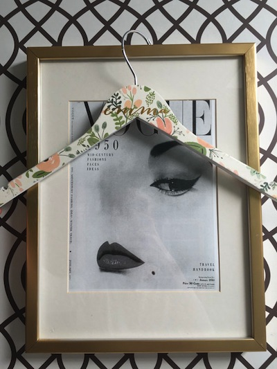 We love the floral design on this custom hanger.