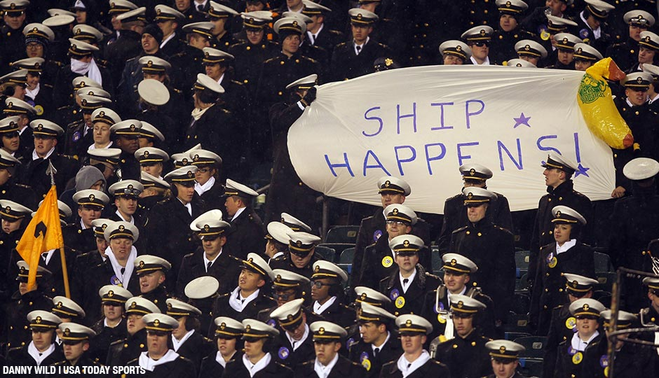 Dec 14, 2013; Philadelphia, PA, USA; Navy Midshipmen fans hold a sign taunting Army during the second half at Lincoln Financial Field.