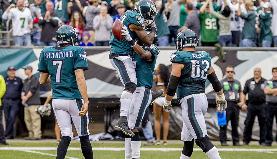 Josh Huff and Nelson Agholor. (Jeff Fusco)