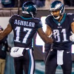 Nelson Agholor and Jordan Matthews. (Jeff Fusco)