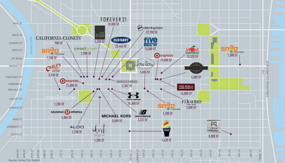 A map of some new retailers in Center City. (Courtesy of Center City District.)