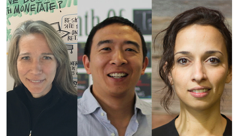 Lucinda Duncalfe (left), Andrew Yang and Yasmine Mustafa are some of the speakers at Founder Factory.