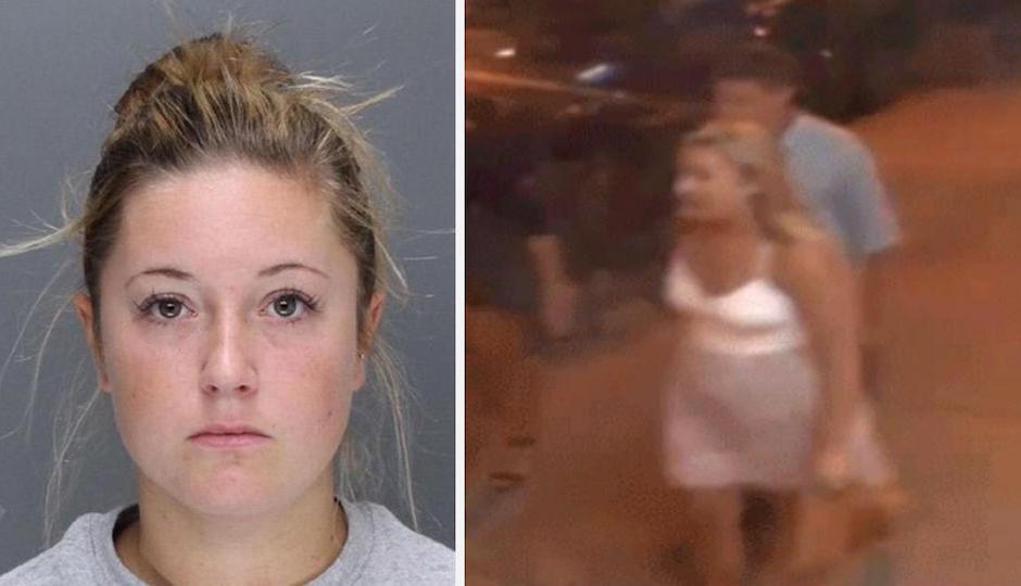 Left: Kathryn Knott. Right: A screengrab from surveillance footage released to the public last year. A Philadelphia detective identified the woman in the photo as Knott in court on Friday.