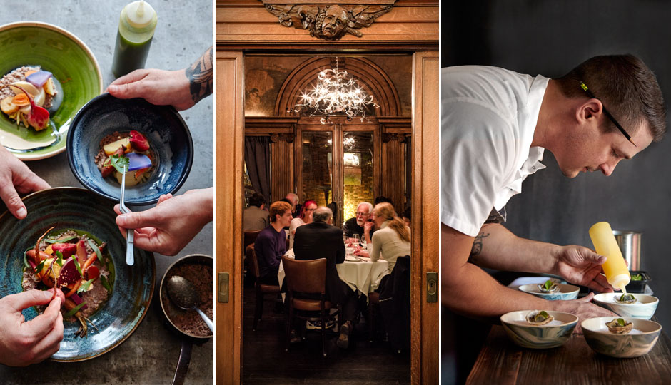Plating at Helm; Dining Room at Le Cheri; Nick Elmi at Laurel | Photos by Jason Varney and Samuel Markey