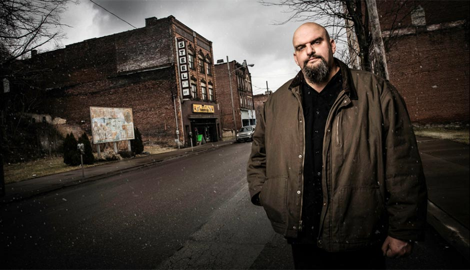 Senate candidate and Braddock mayor John Fetterman. Photograph by Harry Giglio