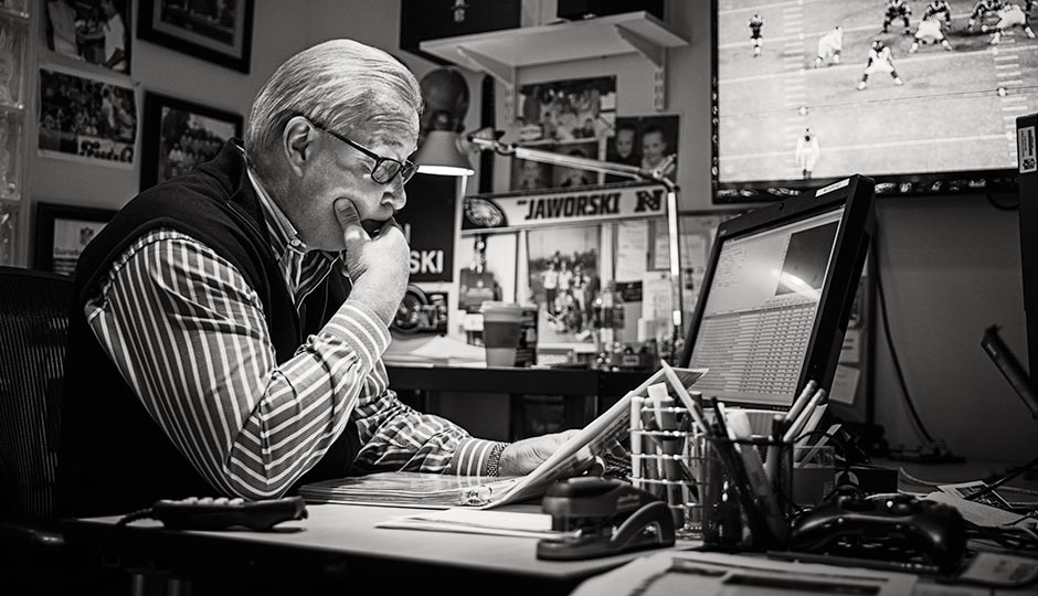 Jaws goes over the X's and O's in his office at NFL Films. Photograph by Jared Castaldi