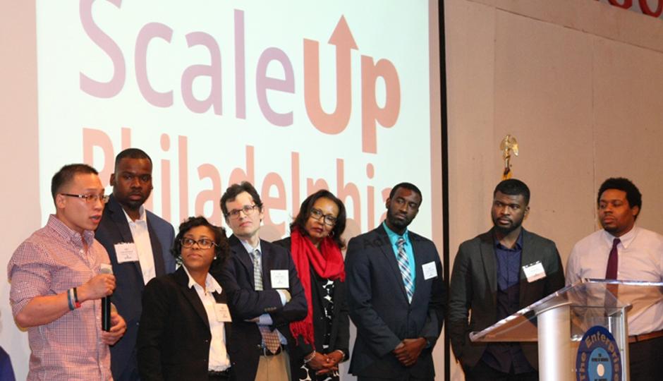Members of The Enterprise Center gather to celebrate ScaleUp Philadelphia.