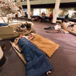 Sleeping bags in Dino Hall | Photo courtesy of Academy of Natural Sciences