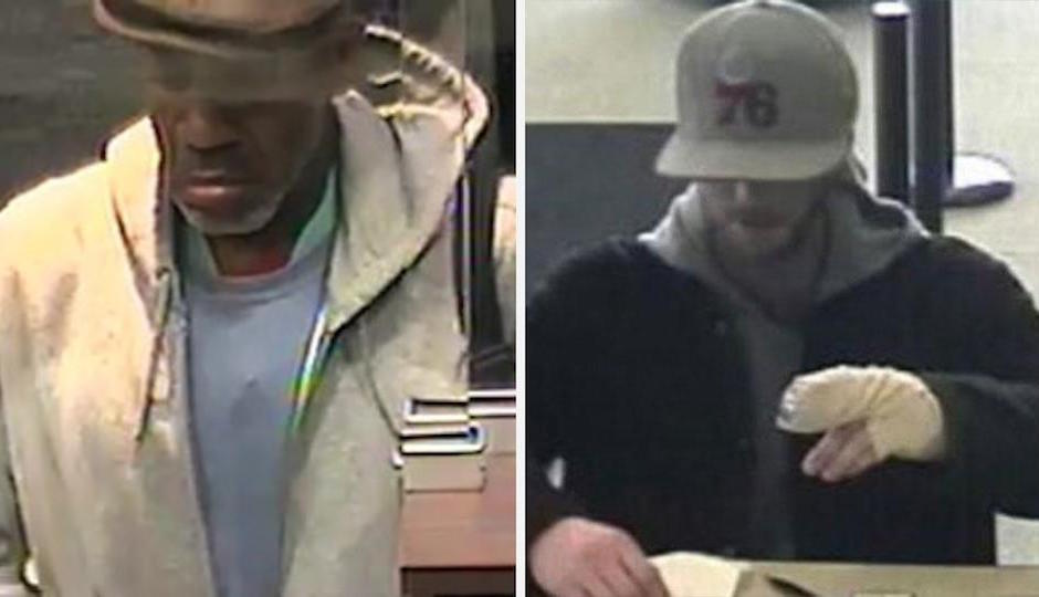 Pictures from the Monday robberies of PNC Bank (left) and Citizens Bank (right).   Source: Philadelphia Police Department