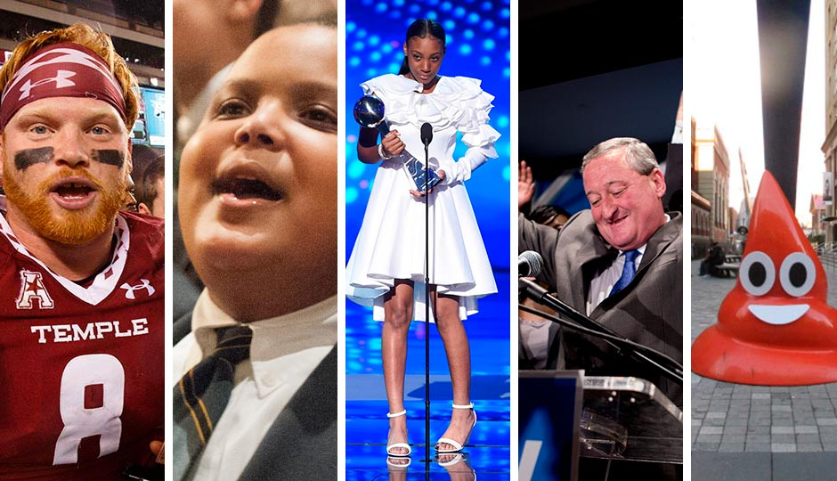 From left: Tyler Matakevich (Chris Szagola, AP), Bobby Hill (courtesy of the Hill family), Mo'ne Davis at the ESPY Awards (Chris Pizzello, Invision, AP), Jim Kenney on election night (Jeff Fusco), Kid Hazo's poop emoji (Streets Department)