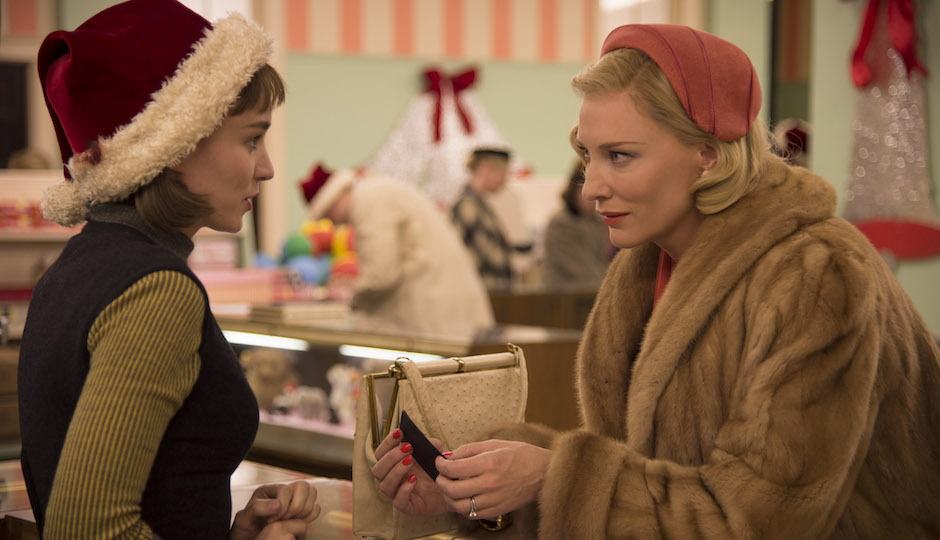 "Rooney Mara and Cate Blanchett in a scene from ""Carol."""