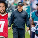 From left: Sam Bradford, Chip Kelly, Demarco Murray. Photos | Jeff Fusco