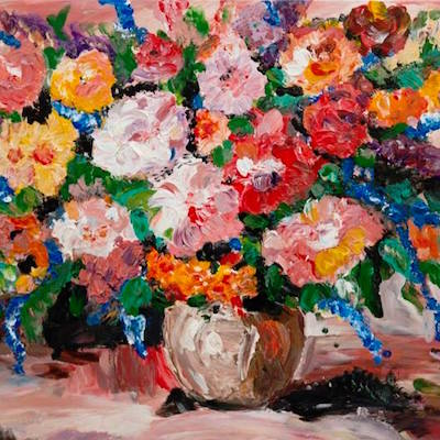 An example of one of Frank's floral paintings.