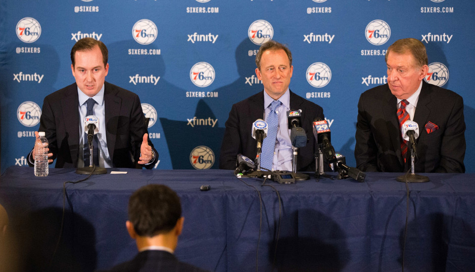 Sixers owner Joshua Harris introduces Jerry Colangelo as the new chairman of basketball operations for the Philadelphia 76ers | Bill Streicher-USA TODAY Sports