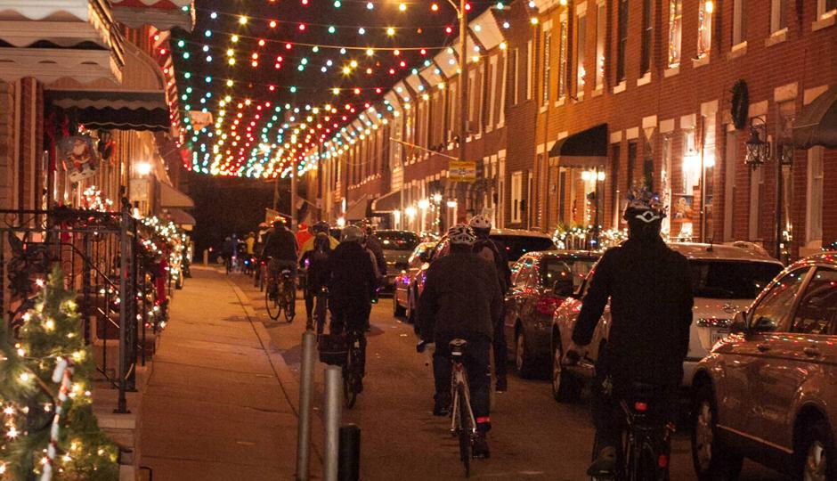 Holiday Lights Bike Ride   Photo via Bicycle Coalition of Greater Philadelphia/Facebook