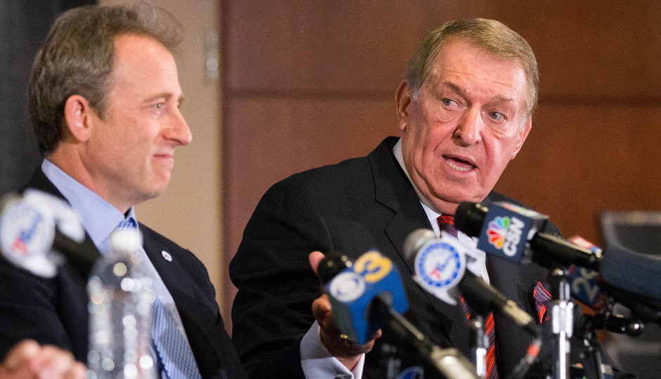 Philadelphia 76ers owner Joshua Harris (L) introduces Jerry Colangelo (R) as special advisor before a game against the San Antonio Spurs at Wells Fargo Center. | Bill Streicher-USA TODAY Sports