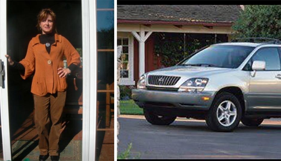 Jesse Wellens' mother, Stella Wellens, left, and her car. Photos via Twitter.