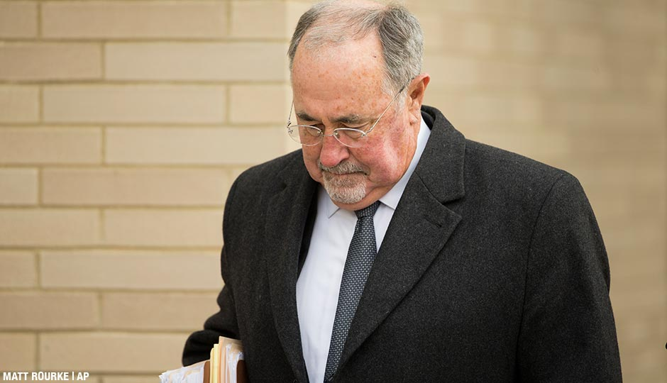 Pennsylvania Supreme Court Justice Michael Eakin arrives for a hearing Monday, Dec. 21, 2015, at the Northampton County courthouse in Easton, Pa. to determine whether he should be suspended while a judicial ethics court decides if his email practices warrant discipline.