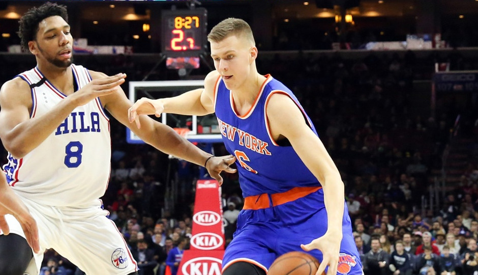 Rookies Kristaps Porzingis and Jahlil Okafor squared off in their first regular season game tonight as the Sixers fell to the New York Knicks 107-97 | Bill Streicher-USA TODAY Sports