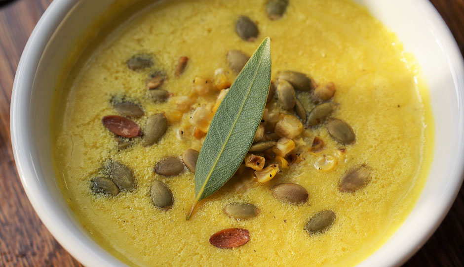 Sweet Corn Bisque (GF) Chive Oil, Roasted Corn, Toasted Pumpkin Seed