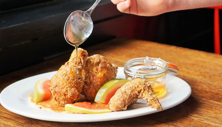 * Buttermilk Fried Chicken - 1⁄2 Bird, Hot Cake, Pickled Watermelon Rind, Local Honey